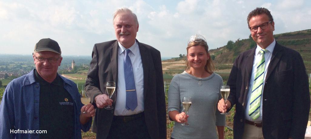 Kilian Schneider, Peter Wohlfarth, Weinkönigin Magdalena Malin, Minister Peter Hauk
